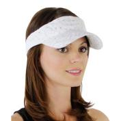 White_ 100% Polyester Glitter Visor Hat