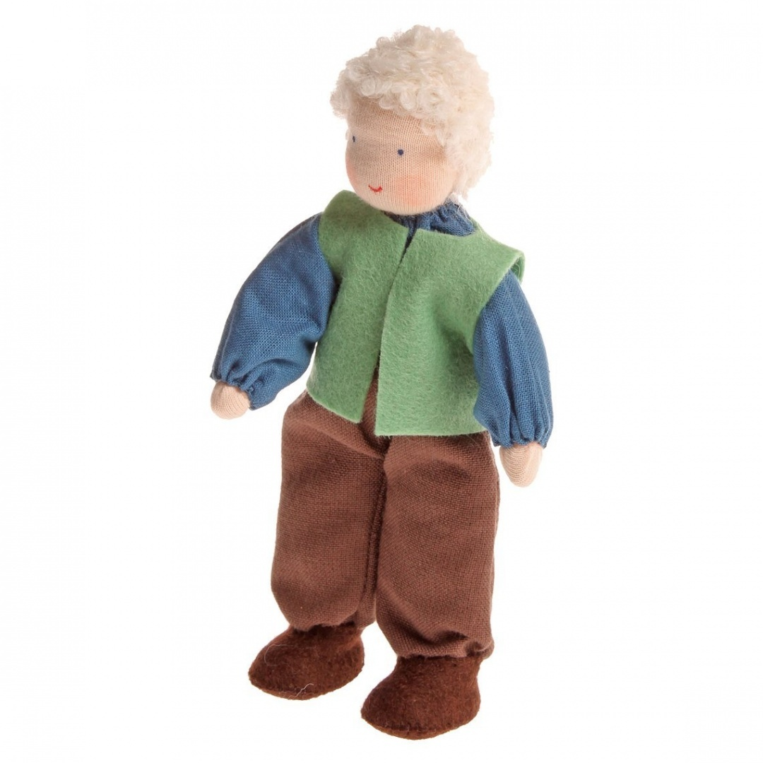 Grimm's Grandfather Handcrafted European Waldorf-Style Small Poseable  Flexible Doll