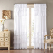 Uphome 1pc White Solid Ruffle Window Curtain Panels - Rod Pocket Semi-blackout Living Room Sheer Curtains,140cm x 230cm