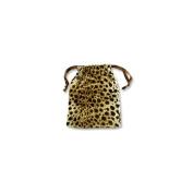 Velvet Drawstring Pouch Large Leopard