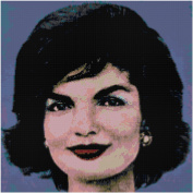 Andy Warhol Jackie Onassis on Blue Counted Cross Stitch Pattern