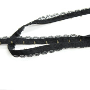 Delicate Lace-Covered Hook & Eye Tape, Black with Antique Brass, Made in Italy