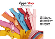 Zipperstop Wholesale YKK® 50cm 6pcs Assorted Hottest Colours YKK® #4.5 Handbag Zippers - Extra-long Pull Closed Bottom Made in USA Colour #506 Buttercup, #515 Holiday Pink, #523 Nectar Orange, #547 Parrot Blue, #820 Atom Red, #851 Light Pink
