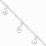 Jewellery Best SellerSterling Silver Polished Boat and Anchor w/ 2.5cm ext. Anklet