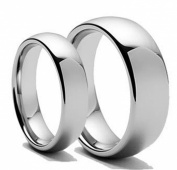 Free Laser Engraving Men & Women's 8MM/6MM Polished Shiny Domed Tungsten Carbide Wedding Band Ring Set