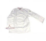 Chef Revival J008RD Chef-Tex Poly Cotton Corporate Chef Jacket with Red Piping and Cloth Covered Button Style, 2X-Large, White