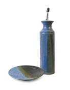 American Made Stoneware Oil Cruet and Dipping Dish Set, Lakeside Blue