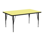 Flash Furniture XU-A2448-REC-YEL-T-P-GG Rectangular Activity Table with Yellow Thermal Fused Laminate Top/Height Adjustable Pre-School Legs