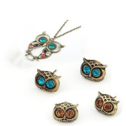 Gleader 2Pcs Pack - Vintage Retro Art Deco Owl Head Charm Stud Earrings + Classical Style Crystal Diamond Owl Design Necklace/Sweater Chain