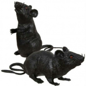 2 Black Plastic Squeezable Squeaking Rats Spooky Scary Creepy Halloween Decor