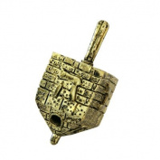 Brass Hanukkah Decorative Dreidel - Bricked Jerusalem Wall Design