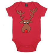 Batch1 Baby Girls Rudolph The Red Nosed Reindeer Christmas Short Sleeve Babygrow Playsuit