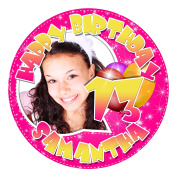 13th Birthday with Your Name & Photo Edible Image Cake Decoration Topper