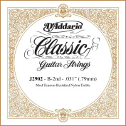 D'Addario J2902 Classics Rectified Classical Guitar Single String, Moderate Tension, Second String