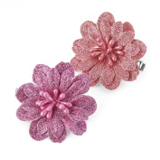 1 PAIR FLOWER BEAK CLIP IN PINK OR GOLD GLITTER