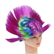 A-szcxtop Halloween Costume Party Dress up Hallowmas Masquerade Punk Mohawk Mohican Hairstyle Cockscomb Hair Wig