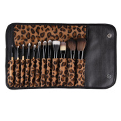 Sanwood 12 Pcs Makeup Brush Set Beauty Brushes with Leopard Bag