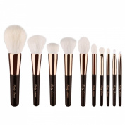 Party Queen Premium Makeup Brush Set Classic Rose Golden/Black Silver/Pink Kabuki Brush Cosmetic Foundation Powder Stipple Kit+Luxurious Leather Case - Supreme Quality For Flawless Beauty