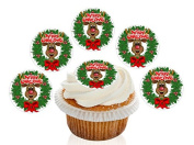 12 Large Pre Cut Merry Christmas Rudolf Wreath Edible Premium Disc Wafer Cupcake Decorations Toppers