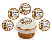 12 Large Pre Cut Merry Christmas Teacher School Edible Premium Disc Wafer Cupcake Decorations Toppers