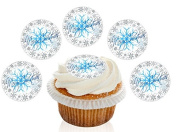 12 Large Pre Cut Merry Christmas Blue and Silver Snowflake Edible Premium Disc Wafer Cupcake Decorations Toppers