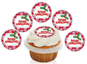 12 Large Pre Cut Merry Christmas Red Demask Holly Edible Premium Disc Wafer Cupcake Decorations Toppers