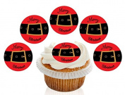 12 Large Pre Cut Merry Christmas Santa Belt Edible Premium Disc Wafer Cupcake Decorations Toppers