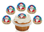 12 Large Pre Cut Merry Christmas Santa Gift Edible Premium Disc Wafer Cupcake Decorations Toppers