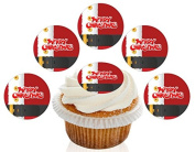 12 Large Pre Cut Merry Christmas Santa Suit Edible Premium Disc Wafer Cupcake Decorations Toppers