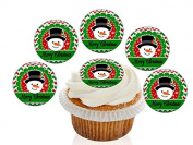 12 Large Pre Cut Merry Christmas Snowman face Edible Premium Disc Wafer Cupcake Decorations Toppers