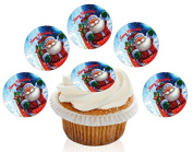 12 Large Pre Cut Merry Father Christmas Sleigh Edible Premium Disc Wafer Cupcake Decorations Toppers