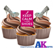 12 X Diamante Heels Keep Calm I Love Shoes Mix EDIBLE WAFER CUP CAKE TOPPERS STAND UP STANDUPS