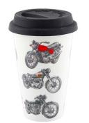 Mens Classic Motor Bikes Design Travel Mug with Silicone Lid