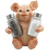 Decorative Pig Glass Salt and Pepper Shaker Set with Holder Stand in Farm Animal Figurines, Sculptures & Statues or Rustic Country Kitchen Decor and Restaurant Table Spice Rack Decorations As Gifts for Farmers