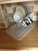 NEW STEEL FOLDING DISH DRAINER RACK SINK DISH ORGANISER DRAINER WITH TRAY