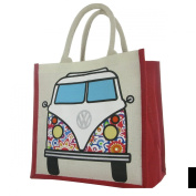 Officially Licenced Volkswagen VW Campervan Juco Eco Friendly Reusable Shopper - Bag For Life - White Floral