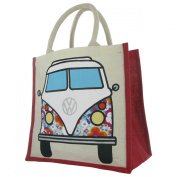 Officially Licenced Volkswagen VW Campervan Juco Eco Friendly Reusable Shopper - Bag For Life - Blue Floral