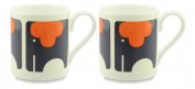 2 x Orla Kiely Ellie Elephant Mugs