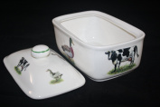 A FINE BONE CHINA TRADITIONAL COVERED BRITISH FARM ANIMAL BUTTER DISH STYLE 2 NEW