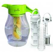 Infusion Pitcher - Gourmet2day Triple Infusion Pitcher plus 3 interchangeable infusers for fruit, tea and ice to enhance the flavour of water, punches, cocktails and more.