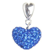 Dangling Love Heart Charm Bead - Paved Blue Crystal with Heart Ring - .925 Sterling Silver NEW - Fits Pandora European Style Bracelets
