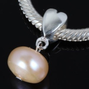 Nature Freshwater Pink Pearl Heart Dangle Authentic 925 Sterling Silver Charm Fits Pandora Charm Chamilia Biagi Troll Beads Europen Style Bracelets