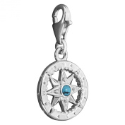 Thomas Sabo Charm Pendant Compass Silver with Zirconia and 1228-405-17 Imitation Turquoise