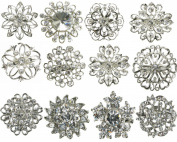 Maaria B's Accessories Mix Silver Diamante 12pcs Brooch Broach Set Pin Bouquet Job Lot Free Postage