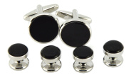 Okones Luxury Round Black Agate Cufflinks and 4Pcs Studs Set for Formal Tuxedo Cuff Shirt