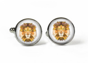 LION - Glass Picture Cufflinks - Silver Plated
