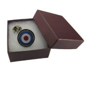 Handmade MOD Target Logo Design - RAF Themed - Silver Plated Round Lapel Tie Pin - Gift Boxed