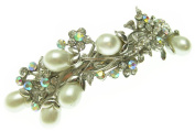 Large White Pearl AB Crystal Flower Hair Clip Barrette