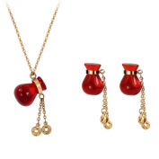 PERFECT GIFT - Magic Red Fortune Bag 18K Rose Gold Plated Earrings Pendant Chain Necklace Jewellery Set in Gift Box - Top Quality