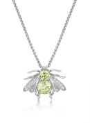 Just Jo Apple Green Cubic Zirconia Bee Pendant in Sterling Silver with Rhodium Plating of 41-46cm